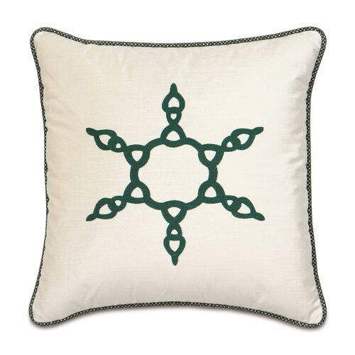 Deck The Halls Evergreen Snowflake Decorative Pillow