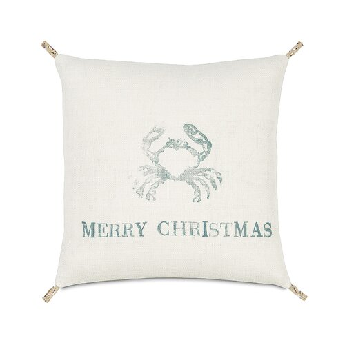 Coastal Tidings Festive Crab Decorative Pillow