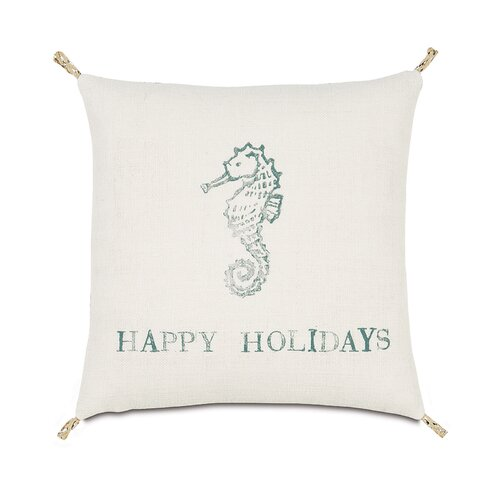 Coastal Tidings Festive Seahorse Decorative Pillow