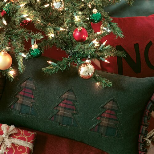 Eastern Accents Home for The Holidays Three Plaid Trees Decorative Pillow
