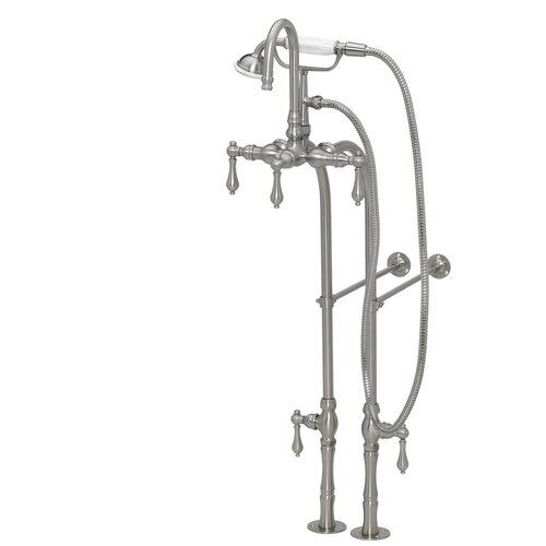 American Bath Factory 200 Series Solid Brass Bath Tub Faucet with Floor Mount Supply Lines