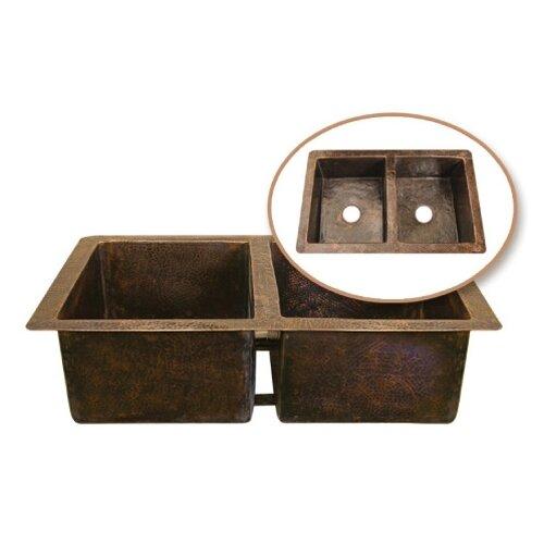 """Houzer Hammerwerks 34.25"""" x 21"""" ChaletChef Double Bowl Kitchen Sink"""