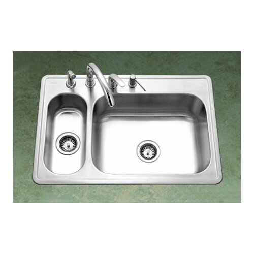 "Houzer Legend 33"" x 15.75 - 22"" Topmount Double Bowl 80/20 Kitchen Sink"