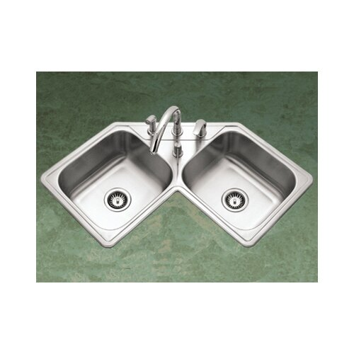 "Houzer Legend 31.88"" x 17"" Topmount Corner Bowl Kitchen Sink"