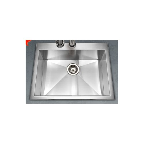"Houzer Bellus 25"" x 22"" Zero Radius Topmount Single Bowl Kitchen Sink"