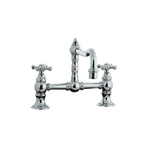 Highlands Double Handle Double Hole Bridge Faucet with Cross handle and Swivel Spout