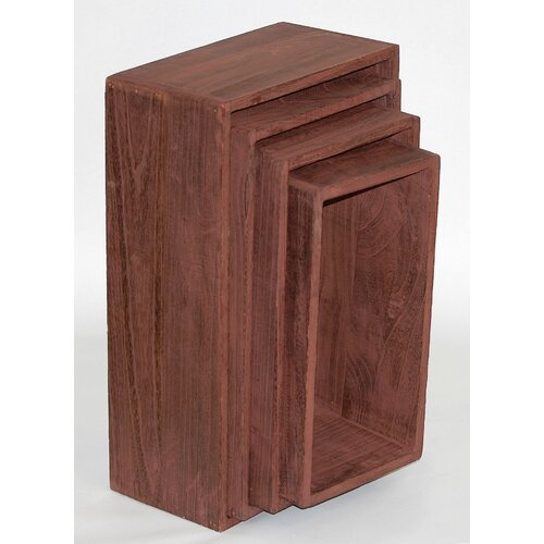 Mondo Gifts & Homewares Set of 4 Solid Wood Cubes in Brown