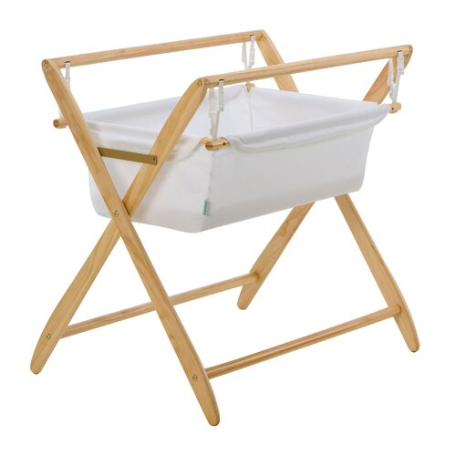 Cariboo New Zealand Gentle Motions Bassinet in Natural Timber / White Fabric