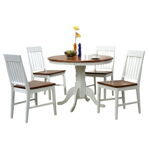 By Designs Brenna 5 Piece Two Toned Fixed Dining Setting in White / Antique Oak