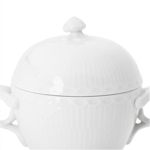 Royal Copenhagen White Half Lace 6.75 oz. Sugar Bowl with Lid