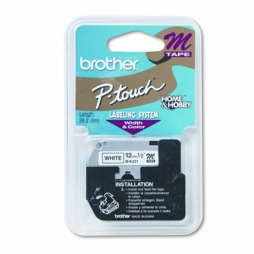 Brother M231 P-Touch Tape Cartridge for P-Touch Labelers, 1/2W