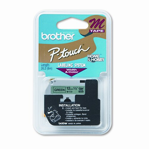 Brother M731 P-Touch Tape Cartridge for P-Touch Labelers, 1/2W