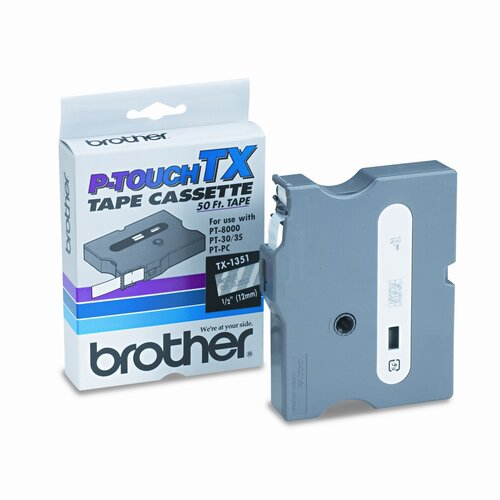Brother TX1351 Tape Cartridge for PT-30/35/8000(XL), PTPC, White on Clear, 1/2w