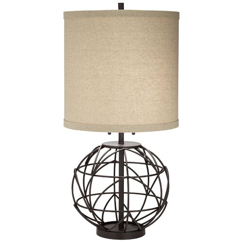 """Alloy Globe 32"""" H Table Lamp With Drum Shade"""