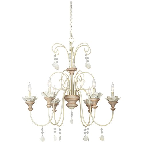 Pacific Coast Lighting Kathy Ireland Essentials 6 Light Lanikai Beach Crystal Chandelier