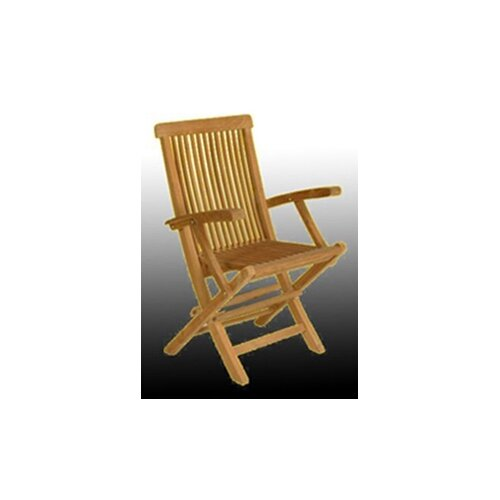 Arbora Teak Solid Teak Classic Folding Dining Arm Chairs (Set of 2)