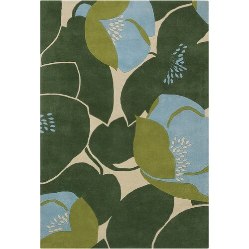 Chandra Rugs Amy Butler Field Poppy Green Rug