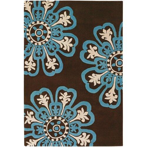 Contemporary Dark Brown/Blue Designer Rug