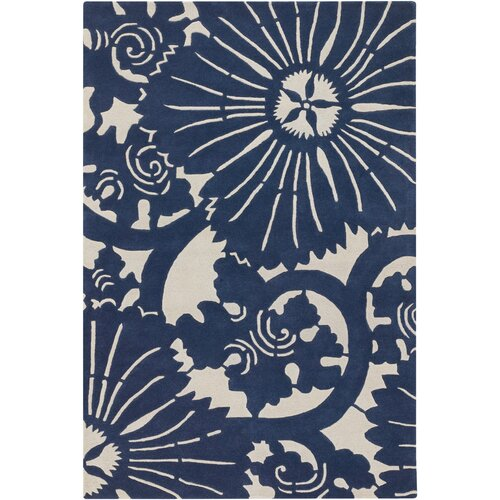 Chandra Rugs Contemporary Designer Navy Rug