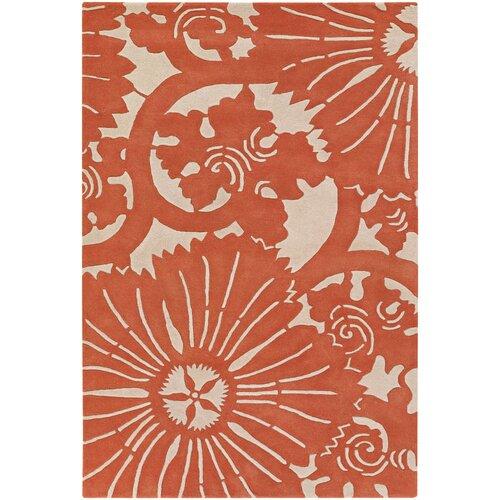Contemporary Designer Orange Rug