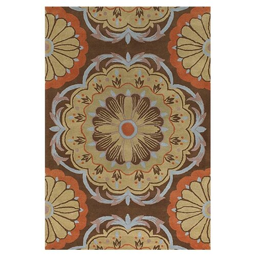 Chandra Stella Patterned Contemporary Wool Beige Aqua Area: Dharma Brown/Orange Area Rug