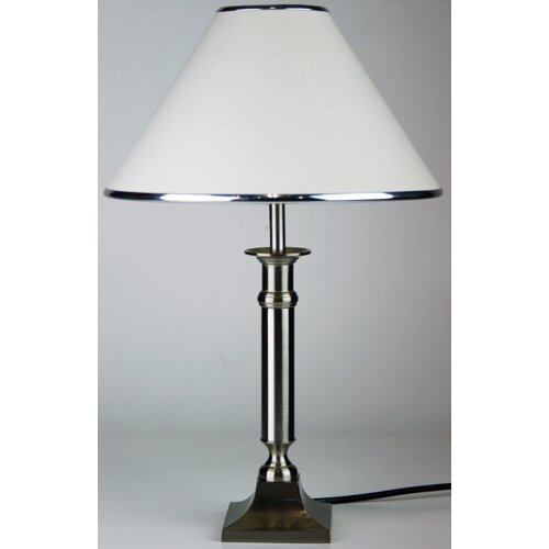 Oriel Lighting Brazil Table Lamp in Brushed Chrome with White Shade