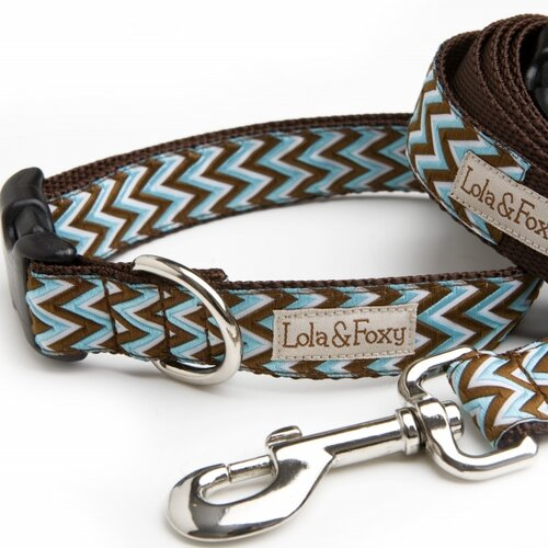 Lola and Foxy Blue Chevron Dog Collar