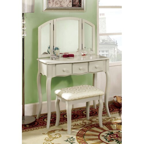 Hokku Designs Sophisticated Vanity Set With Mirror And Stool Reviews
