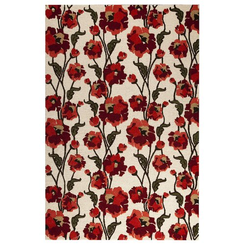 Hokku Designs 5 - 70Fields White/Red Rug