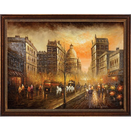 Hokku Designs Rainy Day on the Boulevard Framed Original Painting