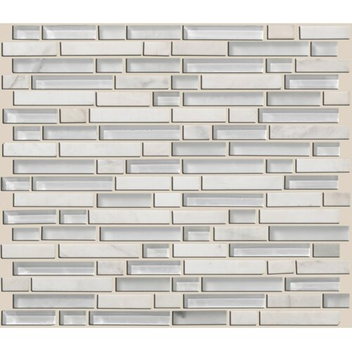 Mixed Up Random Sized Linear Mosaic Stone Accent Tile in Snow Peak