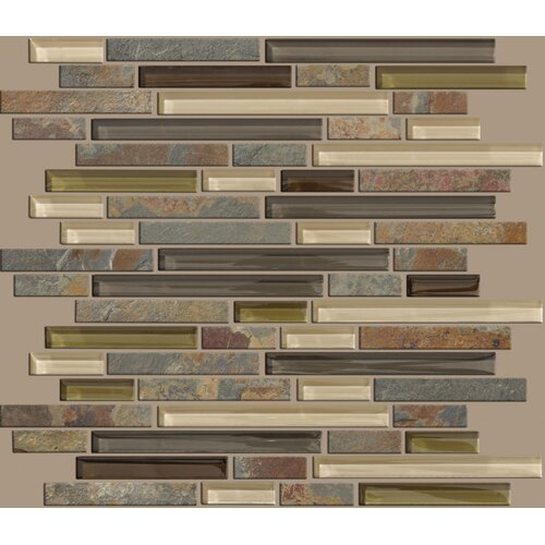 Mixed Up Random Sized Linear Mosaic Slate Accent Tile in Spring Valley