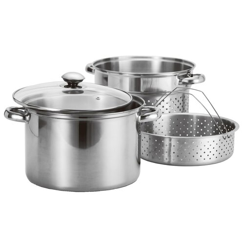 4-Piece Stainless Steel Pasta Cooker / Steamer