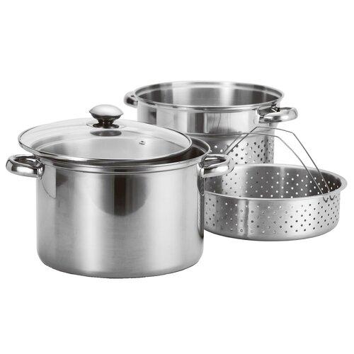 4-Piece Stainless Steel Pasta Cooker / Steamer