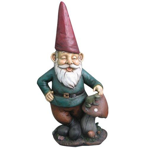 Gnome Mushroom Frog Statue