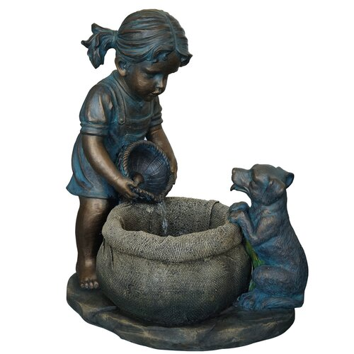 Resin and Fiberglass Girl with Puppy Fountain