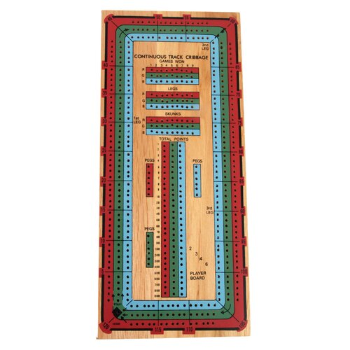 John N Hansen 3 Track Color Cribbage Board