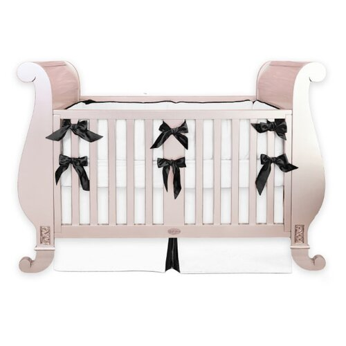 Black and White Silk 3 Piece Crib Bedding Set