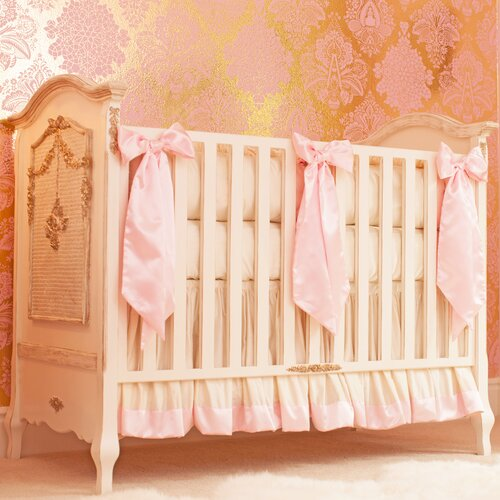 Ivory and Pink Silk 4 Piece Crib Bedding Set