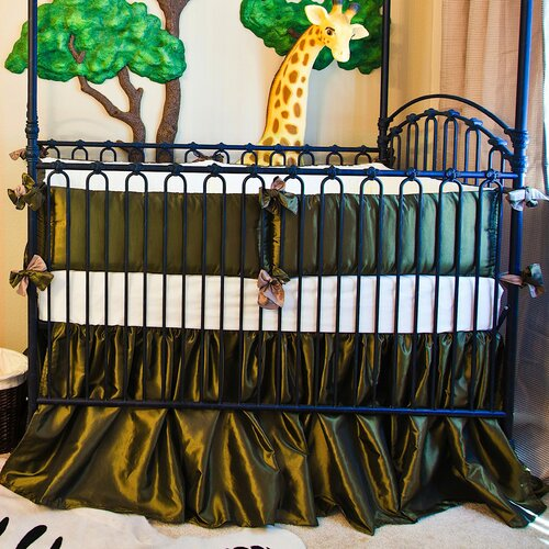 Olive Green Taffeta 3 Piece Crib Bedding Set with Bows