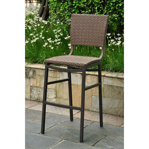 International Caravan Barcelona Aluminum Wicker Resin Bar Height Bar Stool