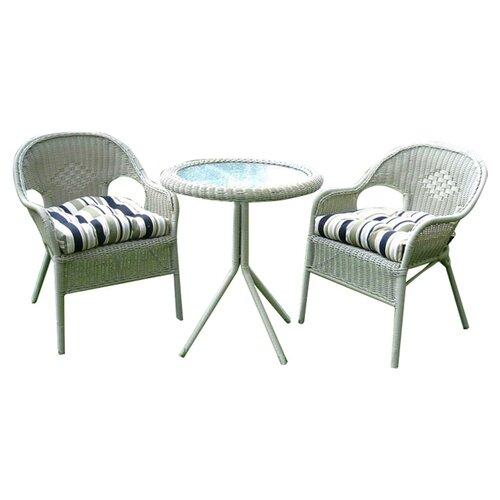 International Caravan Chelsea 3-Piece Wicker ResinSteel Patio Bistro Set