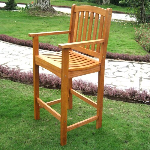 International Caravan Royal Tahiti Balau Bar-Height Patio Bar Chair