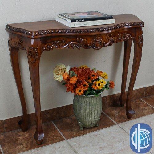 International caravan windsor hand carved wood console