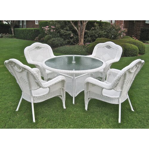 International Caravan Riviera 5-Piece Wicker ResinAluminum Patio Game Group Set