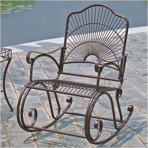 International Caravan Sun Ray Wrought Iron Rocking Chair