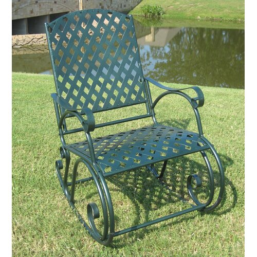 International Caravan Diamond Lattice Wrought Iron Patio Rocking Chair