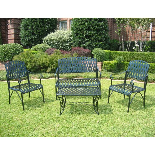 International Caravan Iron Patio Diamond Lattice 4 Piece Lounge Seating Group