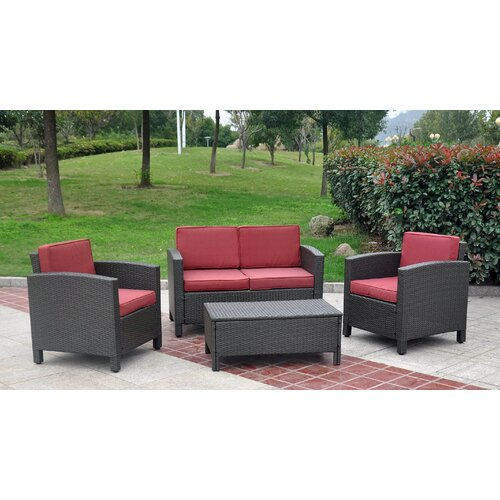 International Caravan St. Maarten 4-Piece Wicker Resin Outdoor Seating Group with Cushions