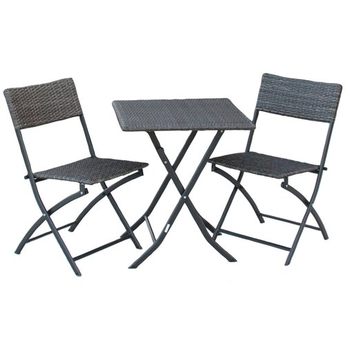 International Caravan Catalina 3 Piece Wicker Resin Patio Bistro Set